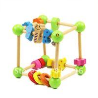 wooden animal cartoon hand bell toy