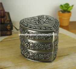Wholesale 6pcs Lot Classic Zinc Alloy Jewelry Box Stage Background Cloth, Three layers Heart Shape, Free shipping(China (Mainland))