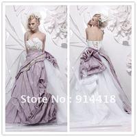 Freeshipping Hotsale Strapless Flowers Bandage Custom-made Sweep Train Taffeta Tulle Grecian Style Wedding Dresses