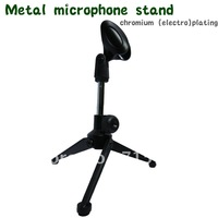 FREE SHIPPING Adjustable Desktop Tripod Metal Microphone Stand - chromium (electro)plating -Fit for wireless microphone