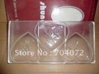 wholesale- free shipping 3 in 1 big  heart shape with rose inside pc chocolate mold 27.5*13.5*2.4 cm