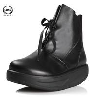 Flowcy autumn women's shoes genuine leather round toe lacing platform boots wedges platform boots