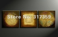 Free shipping abstract canvas art 3pc/set golden oil paintings  No framed acrylic paintings art