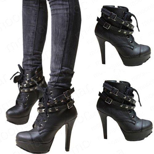 harajuq metal cap buckle ankle boots high heels