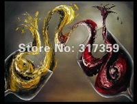Free shipping abstract canvas art 1pc/set Red wine glass oil paintings  No framed acrylic paintings art