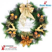 Free Shipping 1pcs/lot New Novelty 40*10cm Gold Pine Bow Christmas Wreath, Christmas Tree Omament, Christmas/Festival Decoration