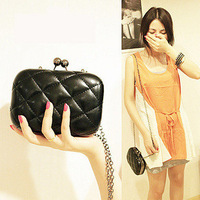 2012 candy color female plaid chain day clutch evening bag small bag