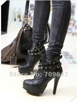 2013 New Style Boot Rivet, Lace-up, High Heel,Round Head,Female Locomotive Boots Martin Knight Boots  FREE SHIPPING
