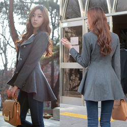 2012 New Fashion Women Korean Dovetail Slim Wool Coat Ladies Designer Irregular Long Blazer Winter Outwear Windbreaker Female(China (Mainland))