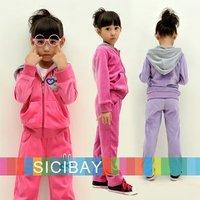 Retail Girls Velvet Clothing Sets Kids Winter Warm Suit Sports Zipper Up Coat+Rabbit Design Pant, Free Shipping  K0192