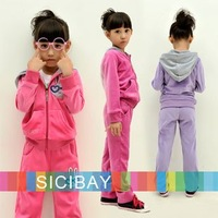 Retail Girls Velvet Clothing Suit Winter Warm Zipper Up Coat+Rabbit Design Pant, Free Shipping  K0192