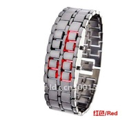 Valued High Quality  Free Shipping Cool LED Luxury Gentlemen Men's Lava Style Iron Samurai Metal Watch