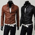 Free shipping!Mens fashion casual Classic buckle short design slim fit stand collar motorcycle leather jacket,PY04
