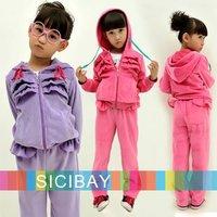 New Fashion Girls Winter Tracksuit Baby Velvet Clothing Set Kids Wear Warm Hoodies +Pants Children Sport Suit K0193