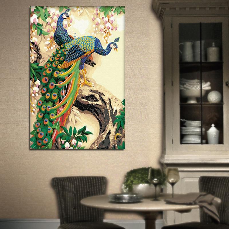 Da pintura decorativa diy digital mágica dos amantes da pintura a óleo do cubo do arco-íris de DIY pavão digital do mk da pintura a óleo 60x90cm