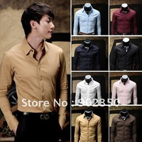 Free shipping casual shirts men long sleeve cover closure design fashion shirts asian size M L XL XXL8 colors wholesale &amp;amp; retail