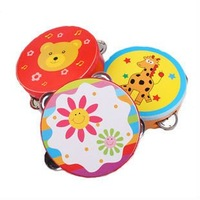Free Shipping Children musical instrument percusses hand skin  carton  tambourine baby hand drum rattles toys delivery randomly