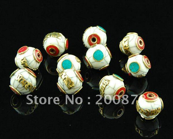 NBB453 Tibetan six words mantras amulets beads charm,17mm,Nepal brass inlaid white resin loose beads,OM(China (Mainland))