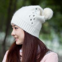 free shipping,Diamond hat female winter hat yarn rabbit fur hat women's