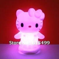 Christmas gifts Free shipping(10pcs/lot)Colorful Hello Kitty LED Night Light Cute 7 Color Changing Baby Kid mood Desk Night Lamp