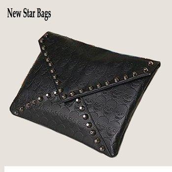 Skull bag   2012 Female punk rivet skull envelope bag day clutch cross-body bag  k018