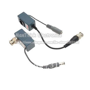 5 pairs  Video Power Balun BNC CCTV Transceiver pigtail Cable  .Free shipping