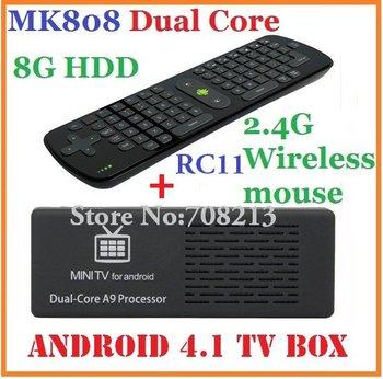 10pcs=5pcs RC11+5pcs MK808 Mini pc Android TV Box 1GB RAM/ 8GB HDD RK3066 1.6GHz Cortex-A9 dual core HDMI + RC11 Fly air mouse