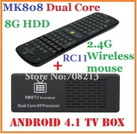 10pcs=5pcs RC11+5pcs MK808 Mini pc Android TV Box 1GB RAM/ 8GB HDD RK3066 1.6GHz Cortex-A9 dual core HDMI + RC11 Fly air mouse