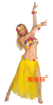 Halloween party clothes 80cm adult hawaii hula skirt 6 piece set
