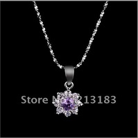 New Necklace Jewelry Sakura Pendant Necklace Genuine 925 Silver With Rhodium Plated Free Shipping!(IWP0036)