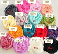 2012 Hot Sales Candy Colors Brand New Fashion Women Black White Red Wraps Cover up Scarf Wrinkle Scarves