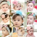 Free shipping9pcs/lot Cute Baby flower headwear infant cotton hair band/Baby cotton head scarf/headband/headdress