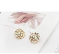 D233 accessories full rhinestone pearl circle disc earring stud earring