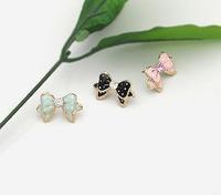 D235 accessories earring stud earring zircon stud earring bow