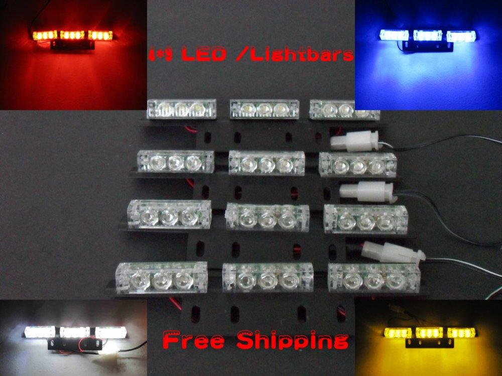 Free Shipping!! 4*9 36 LED Warning Blinking Strobe Flash Light/Lightbar Deck Dash Grille LED EMERGENCY STROBE LIGHTS 3 Mode 12V(China (Mainland))