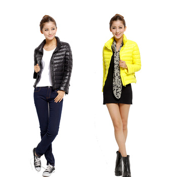 2012 down coat female short design slim ultra-light down coat thin down coat storage bag