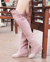 2013 new arrival women's knee-length elevator snow boots shoes with lace decoration for winter 99-2