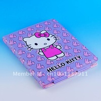 Free shipping 1pc Lovely Hello Kitty with Purple Rabbit Bunny Leather Protective Case Cover For New iPad 3 2