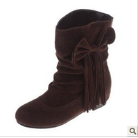 Free Shipping 2012 Hot Sales High Quality Ladies Fashion Boots Ladies  Winter Boots Ladies Lovely Shoes  Women's  Bowknot Shoes