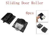 6pcs Wardrobe Black Plastic Plate 25mm Dia Wheel Sliding Door Roller