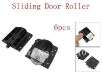 6pcs Wardrobe Black Plastic Plate 25mm Dia Wheel Sliding Door Roller