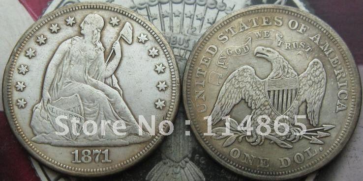 1871 Seated Liberty Silver Dollar Coin COPY FREE SHIPPING(China (Mainland))