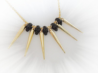E0523 Jewelry Fashion  black gold  punk rivet necklaces   Choker necklace collar necklace   TAA-4.99    punk skull skeleton
