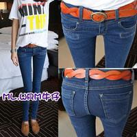 Free shipping 2012 four seasons paragraph female summer slim skinny pants pencil pants elastic jeans women's jeans