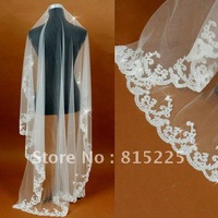 Fashion Stylish Bridal Veils Chapel Floor Length Veils Lace Edge With Sequin Beaded One Layer Empress Veil Hot Sell New