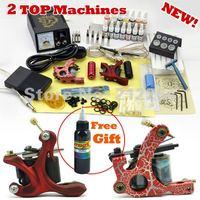2 Guns Professional Tattoo Machine Kit 14 Colors 5ml Inks Power Tips needles  Supply Tattoos set Equipment Free Shipping