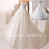 A-line White Lace Prom Dress High Quality Strapless Wedding Dresses Floor Length Wedding Gown Layered Bridal Dress Sz4 6 8 1012+