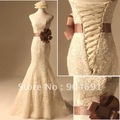 Ivory White Lace Prom Dress High Quality Strapless Wedding Dresses Floor Length Wedding Gown Mermaid Bridal Dress Sz4 6 8 1012+
