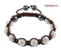 10mm white rhinestone balls shamballa bracelet wholesale