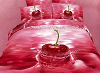 red delicious cherry water cotton bedding sets duvet quilt comforter covers sets 4pcs for bedroom Queen/full 3D oil painting